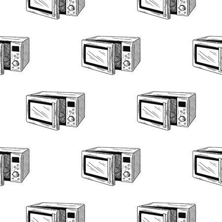 Seamless pattern. Microwave oven on white background. Vector illustrations in sketch style  イラスト・ベクター素材