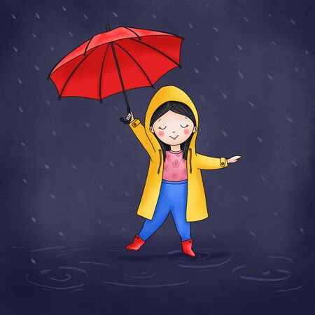 Cute girl with a red umbrella in the rain. Hand drawn illustration. Фото со стока