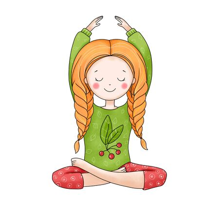 Cute girl in lotus position isolated on white background. Hand drawn illustration. Standard-Bild