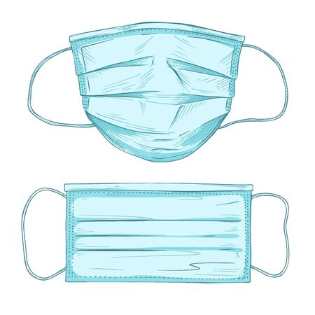 Surgical, Medical Face Mask that protects airborne diseases, viruses. Coronavirus. Defence from air pollution. Vector illustration  イラスト・ベクター素材
