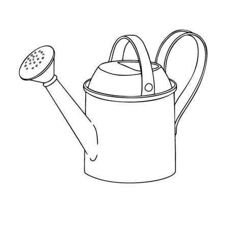 Sketch watering can for the garden. Watering can isolated on a white background. Vector illustration