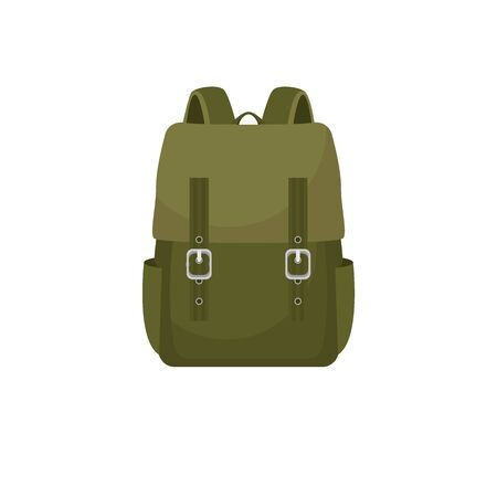 Backpack in a flat style is isolated on a white background. Vector illustration in a flat style.  イラスト・ベクター素材