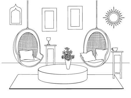 Sketch a cozy living room in boho style. Suspended chairs and various decorative elements. Vector illustration in sketch style.