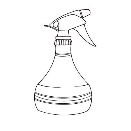 Sketch garden sprayer. Bottle aerosol isolated on a white background. Vector illustration Vectores