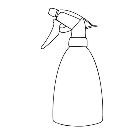 Sketch garden sprayer. Bottle aerosol isolated on a white background. Vector illustration Ilustración de vector