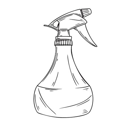 Sketch garden sprayer. Bottle aerosol isolated on a white background. Vector illustration  イラスト・ベクター素材