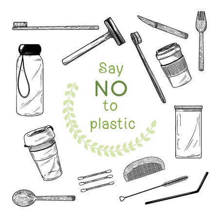 Large set of different environmental items. Zero waste. Vector illustration Illustration