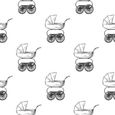 Seamless pattern. Pram, baby carriage on a white background. Vector illustration in sketch style.