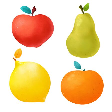 Funny Apple, Pear, Orange and Lemon isolated on a white background.