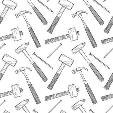 Seamless pattern with different hammers and nails on a white background. Vector illustration in sketch style.