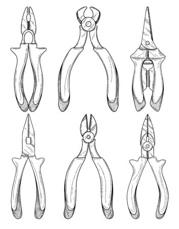 Set of different pliers pincers hand tool isolated on white background. Vector illustration Illustration
