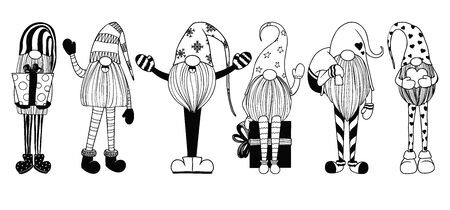 Scandinavian Christmas gnomes. Sketch of cute gnomes isolated on a white background.
