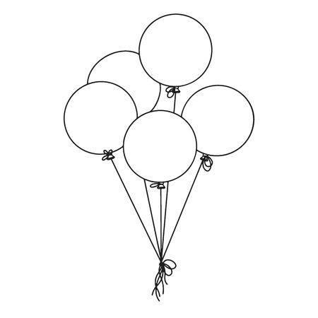 Different balloons. Inflatable balls on a string. Vector illustration in sketch style