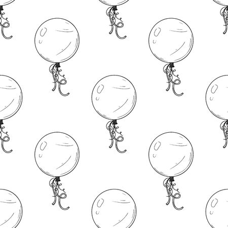 Seamless pattern. Different balloons. Inflatable balls on a string. Vector illustration in sketch style Illustration
