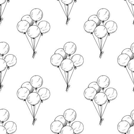 Seamless pattern. Different balloons. Inflatable balls on a string. Vector illustration in sketch style  イラスト・ベクター素材