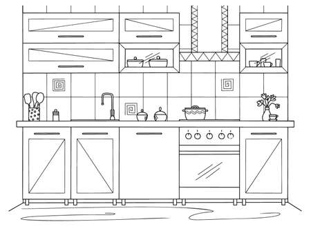 Kitchen furniture. Vector illustration in sketch style.