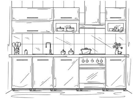 Kitchen furniture. Vector illustration in sketch style. Vecteurs