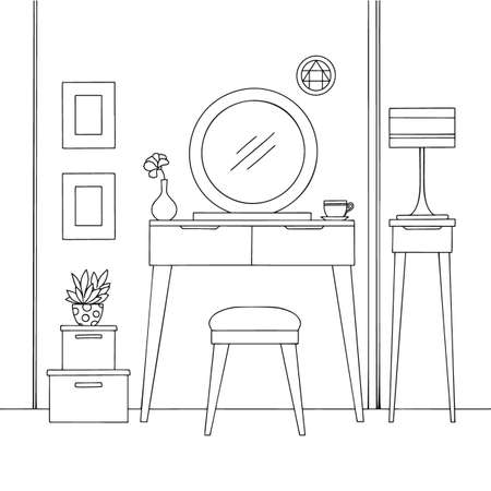Sketch interior. Dressing table and other furniture. Vector illustration in sketch style.