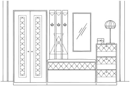 Sketch interior. Hallway furniture, various decorations and other elements. Vector illustration in sketch style.