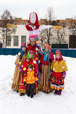 maslenitsa: A group of children in folk russian clothes during the celebration of  Maslenitsa in Nazarjevo village in Moscow area of Russia