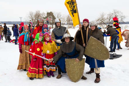 maslenitsa: A group of people in vintage clothes during celebration of Maslenitsa in Moscow area of Russia