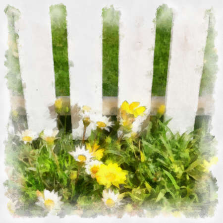 imitations: Flowers and grass at white fence. Digital imitation of aquarelle drawing.