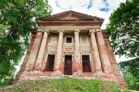 ''wide angle'': Front of old temple of red bricks. Wide angle shoot. Stock Photo