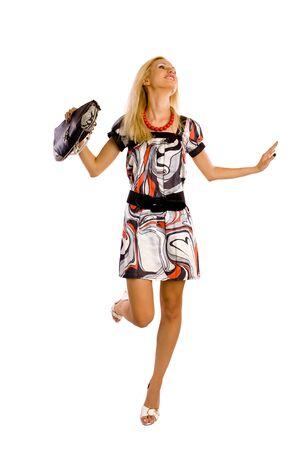 A woman in a dress. Fashion