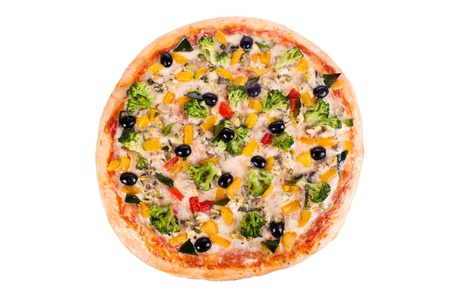 home made: Vegetarian pizza with olives, peppers, spinach, greens, broccoli, white background. Stock Photo