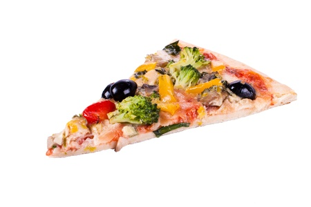 A piece of vegetable pizza on a white background Stock Photo