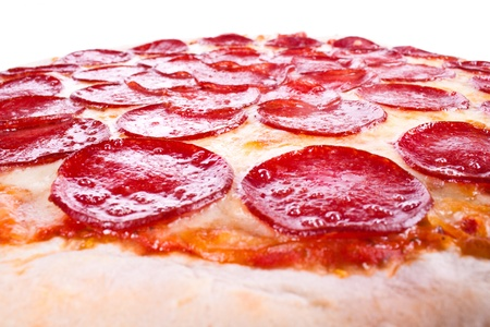 Pizza with sausage, cheese on a white background