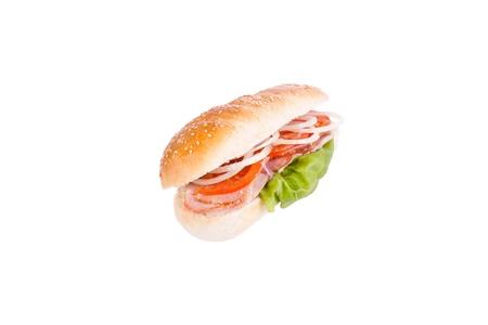 multi grain sandwich: Sandwich, turkey sandwich chicken tomato onion in a bun, on a white background