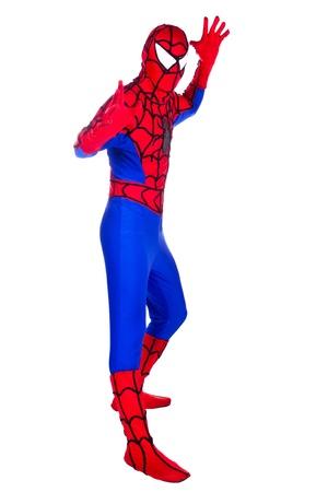 A man dressed as Spiderman. Clown Artist.