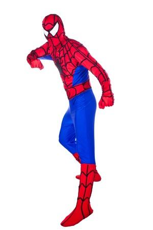 spider man: A man dressed as Spiderman. Clown Artist.