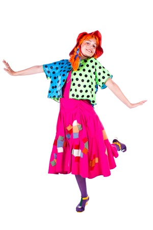 A girl dressed as a clown red. White background.