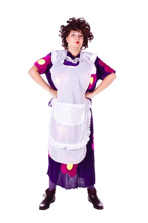 Evil woman in a maid costume with a white apron. White background. Studio photography. Stock Photo - 10067886