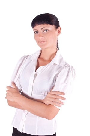 Business woman in white on a white background. isolated portrait