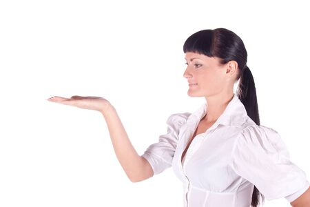 Business woman in white on a white background. isolated portrait photo