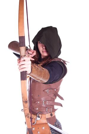 medieval woman: Shooting in a studio in the armor, and people with weapons.