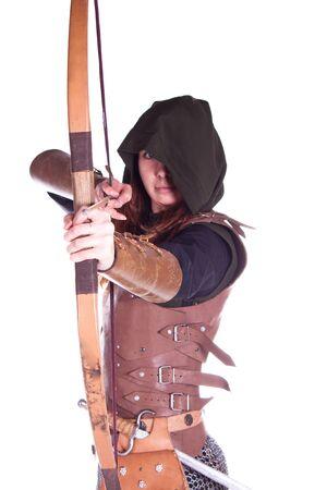 medieval swords: Toma de fotograf�as en un estudio en la armadura, y la gente con armas. Foto de archivo