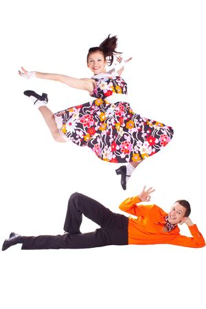 merry dancers: Studio photography on a white background, dancers dressed as rock and roll.