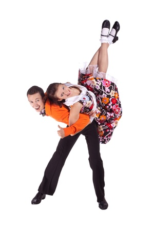 Studio photography on a white background, dancers dressed as rock and roll. Stok Fotoğraf - 11648132