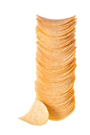 A stack of chips. Photographed on a white background, vertical photo
