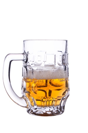 half a beer. Photographed on a white background photo