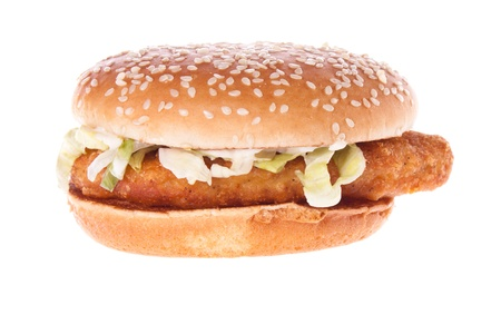 chicken burger: Classic American food removed on a white background. Stock Photo