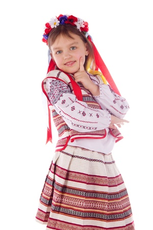 kokoshnik: The child, a girl in a bright dress. The child in the popular, bright, suit Stock Photo