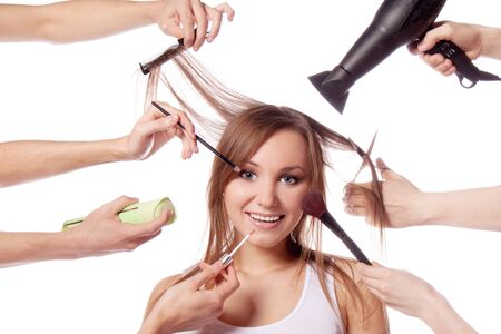 Make-up, cut, many hands Stock Photo - 13230948