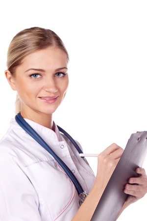 Portrait of a girl doctor with a folder. write Stock Photo - 13384861