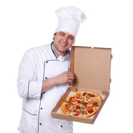 male chef holding a pizza box open