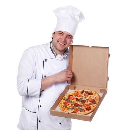 male chef holding a pizza box open